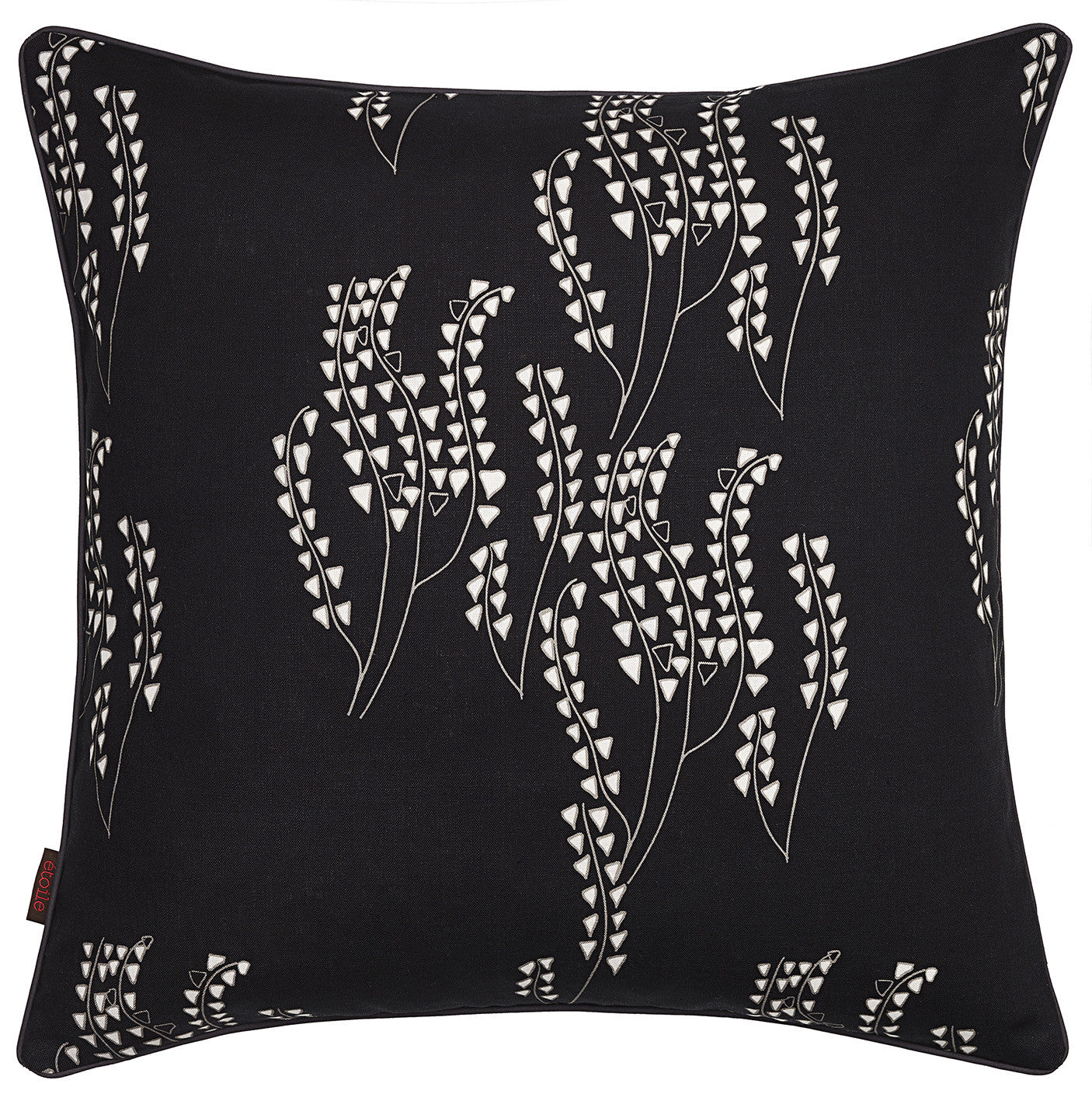 Yuma Grass Pattern Linen Cotton  Throw Pillow in Black with grey ships from Canada worldwide including the USA