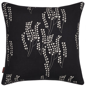 Yuma Grass Pattern Linen Cotton Cushion in Black with grey