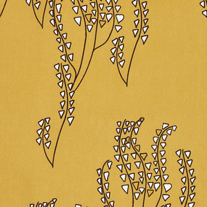 Yuma Graphic Grass Pattern Linen Cotton Canvas Home Interior Decor Fabric by the meter or yard for curtain, blinds or upholstery - Gold - dark -brown - ships from Canada (USA)