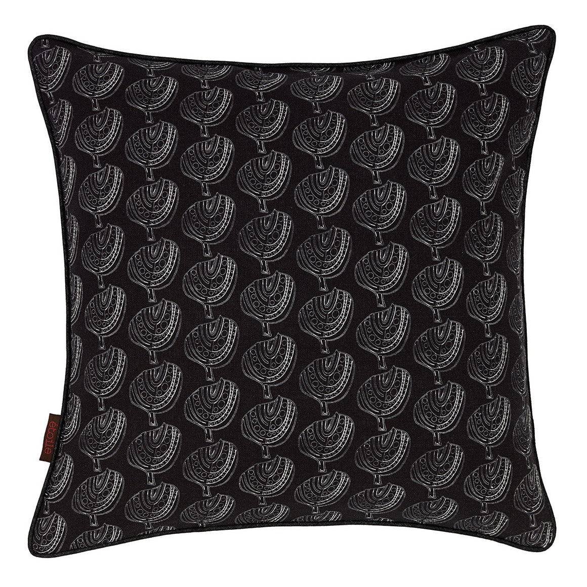 "Graphic Apple Tree Pattern Printed Linen Union Decorative Throw Pillow in Black 45x45cm (18x18"")"