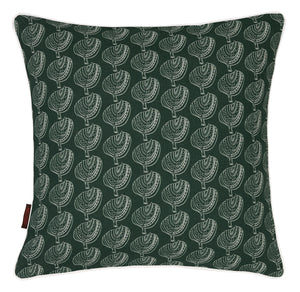 "Graphic Tree Pattern Printed Linen Union Decorative Throw Pillow in Dark Moss Green 45x45cm (18x18"")"