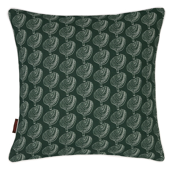Graphic Tree Pattern Printed Linen Union Cushion in Dark Moss Green
