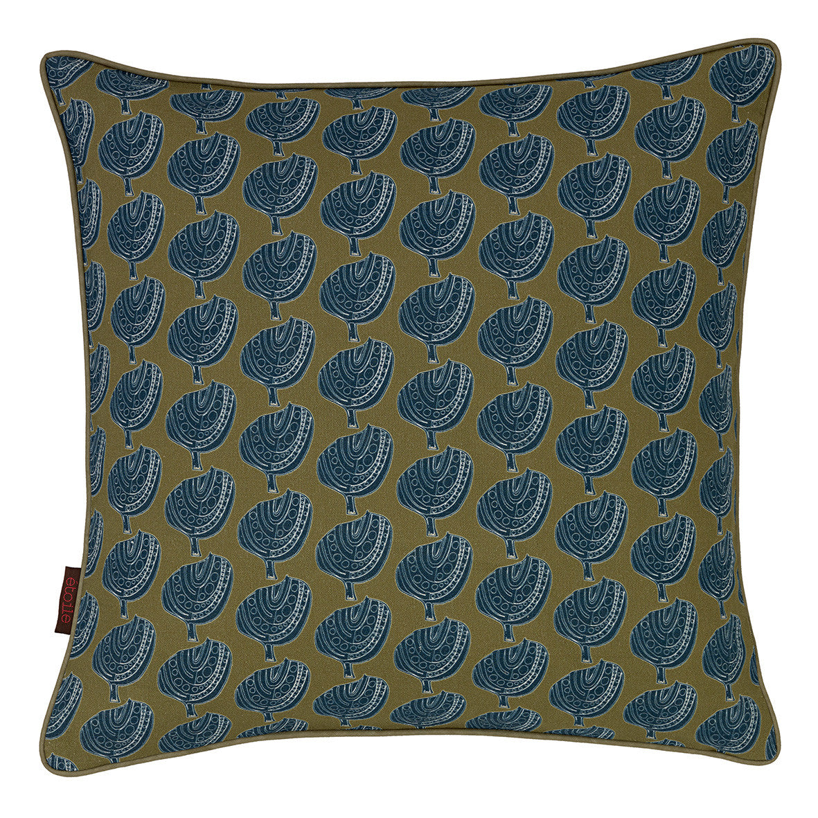 Graphic Apple Tree Pattern Printed Linen Union Decorative Throw Pillow in Antique Moss & Dark Petrol Blue 45x45cm