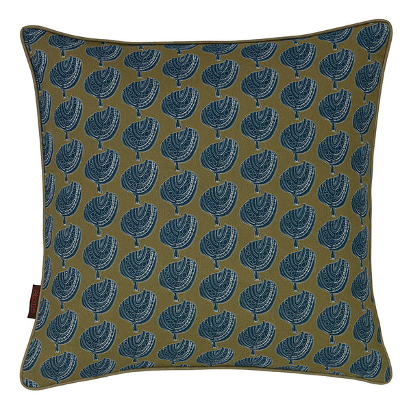 Graphic Apple Tree Pattern Printed Linen Union Cushion in Antique Moss & Dark Petrol Blue 45x45cm