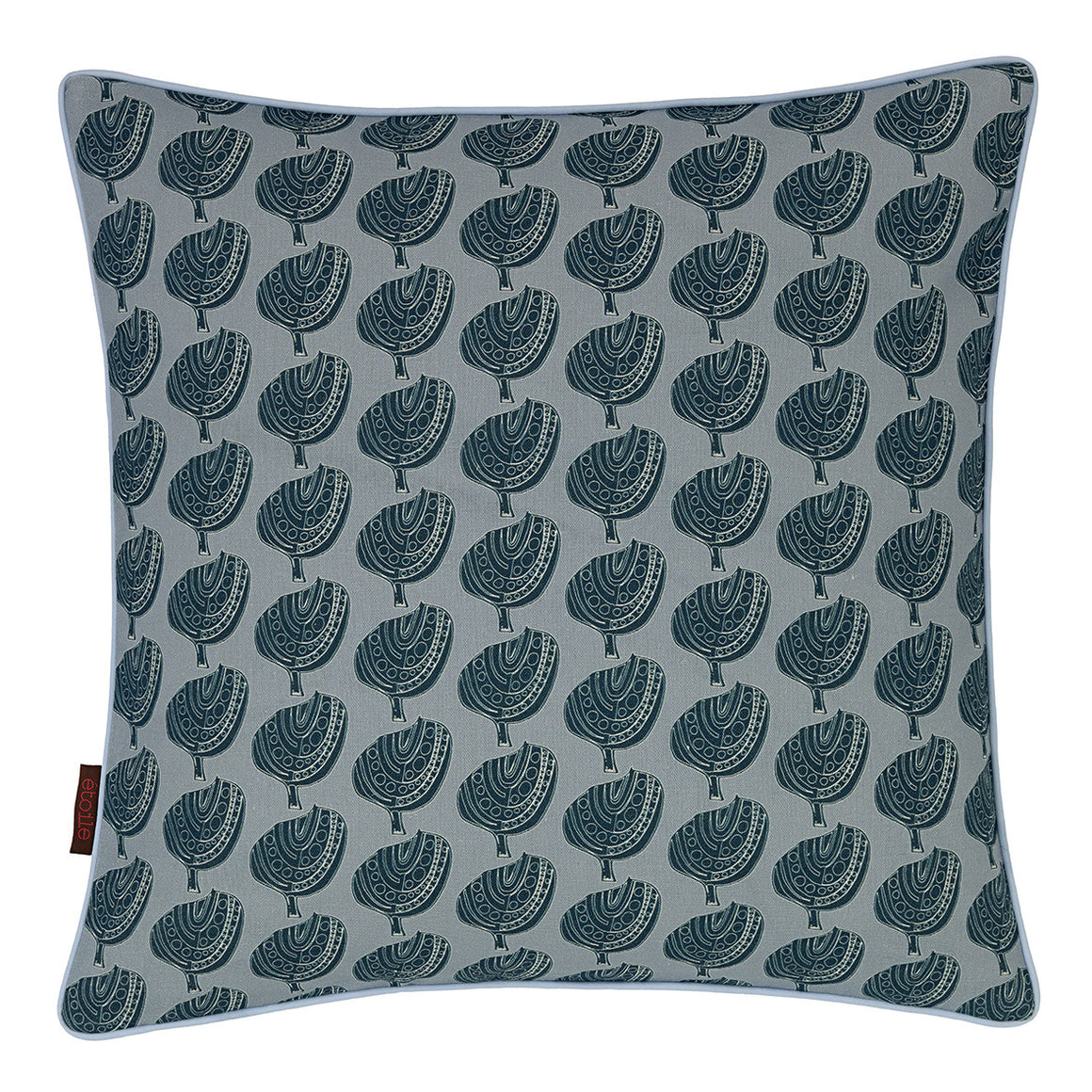 "Graphic Apple Tree Pattern Printed Linen Union decorative Throw Pillow in Light Winter Blue and Petrol Blue 45x45cm (18x18"")"