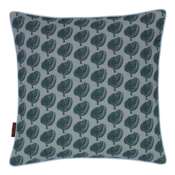 Graphic Apple Tree Pattern Printed Linen Union Cushion in Light Winter Blue and Petrol Blue