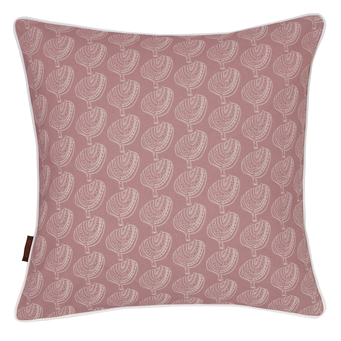 Graphic Apple Tree Pattern Printed Linen Union Cushion in Light Heather Pink
