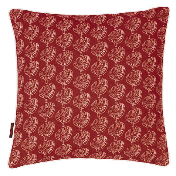 Graphic Tree Pattern Printed Linen Union Cushion in Warm Geranium Orange-Red