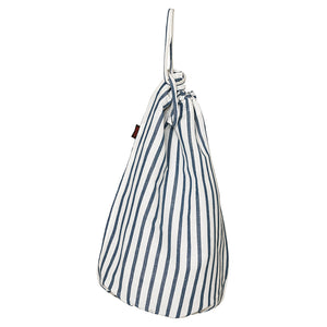 Autumn Ticking Stripe Cotton Linen Laundry and Storage Bags in Dark Petrol Blue