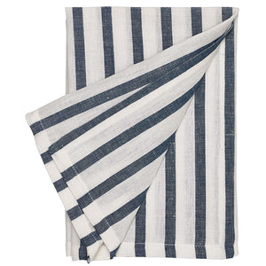 Autumn Ticking Stripe Cotton Linen Napkin in Navy Blue