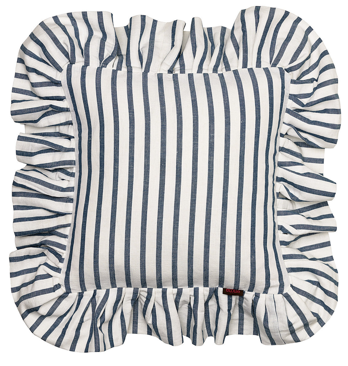 "Autumn Ticking Stripe Cotton Linen Ruffle Decorative Throw Pillow - Petrol Blue 18x18"" 45x45cm"