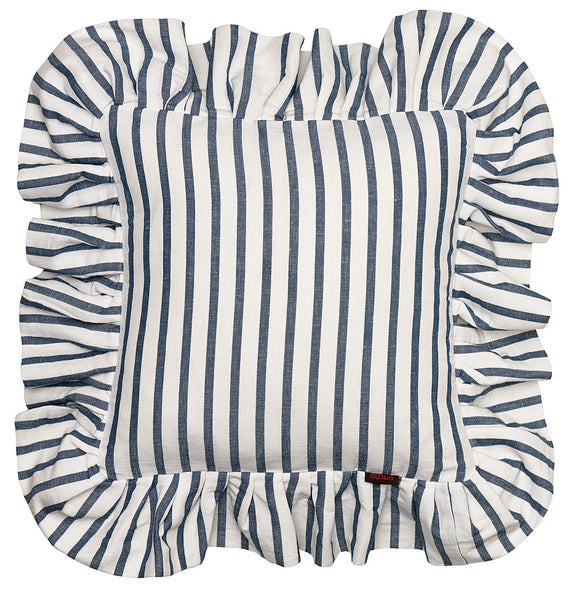 Autumn Ticking Stripe Cotton Linen Ruffle Cushion - Petrol Blue