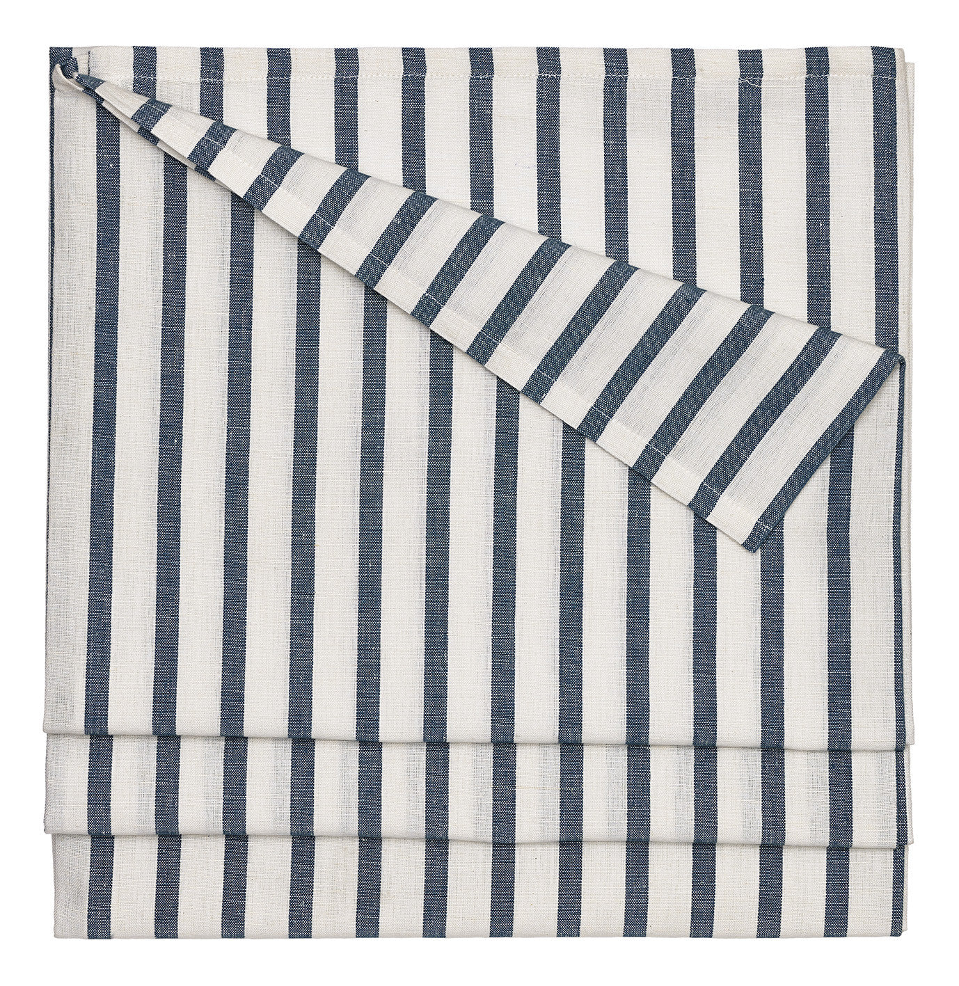 "Autumn Ticking Stripe Cotton Linen Tablecloth in Dark Petrol Blue 145x180cm (58x72"") Canada USA"