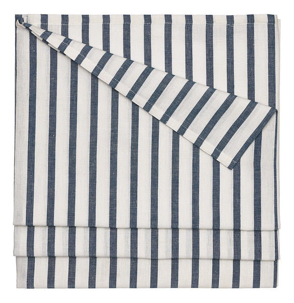 Autumn Ticking Stripe Cotton Linen Tablecloth in Dark Petrol Blue
