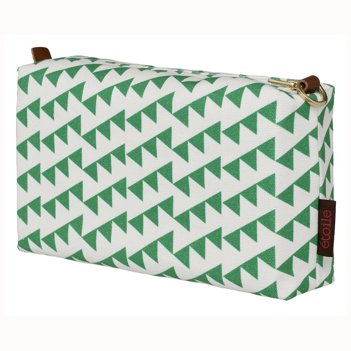 Bunting Geometric Pattern Canvas Wash toiletry travel Bag Bright Emerald Green cosmetic Bag canada (USA)