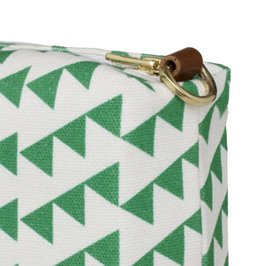 Bunting Geometric Pattern Canvas Wash (toiletry) Bag in Bright Emerald Green