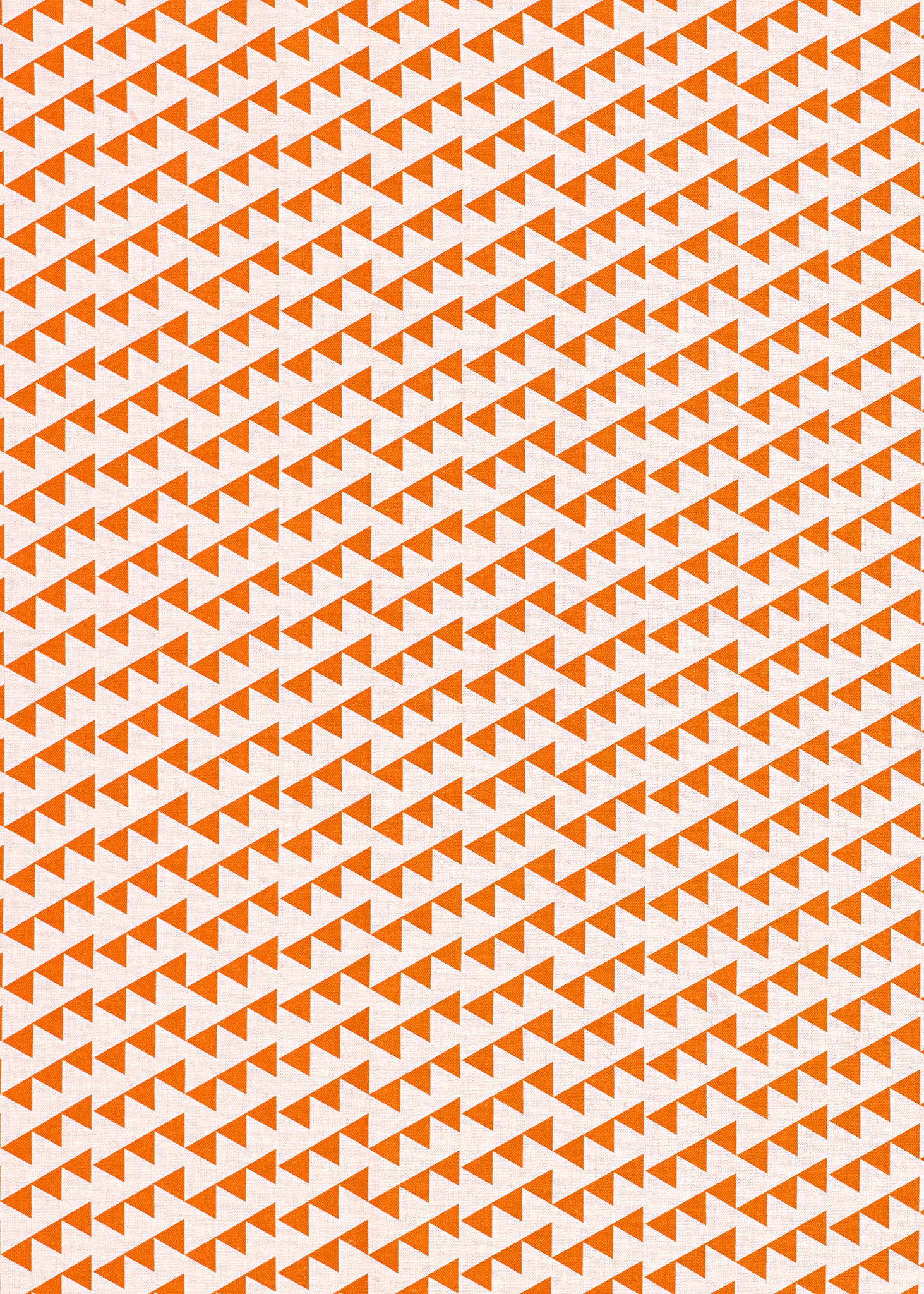 Bunting Geometric Pattern Cotton Linen Fabric in Bright Pumpkin Orange