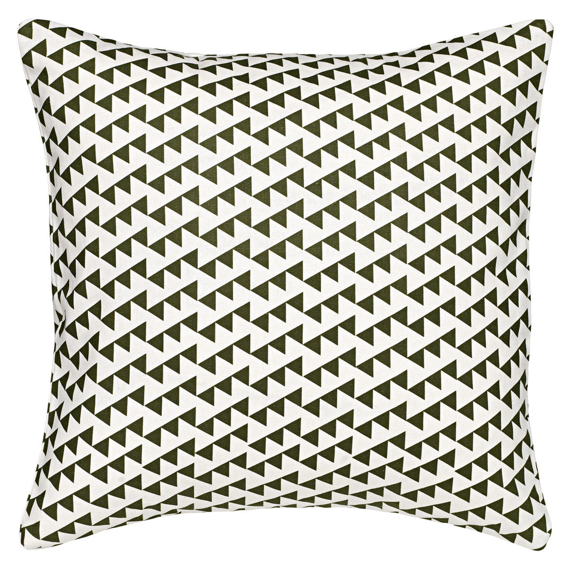 "Bunting Geometric Pattern Linen Cotton Decorative Throw Pillow in Olive Green 45x45cm (18x18"")"