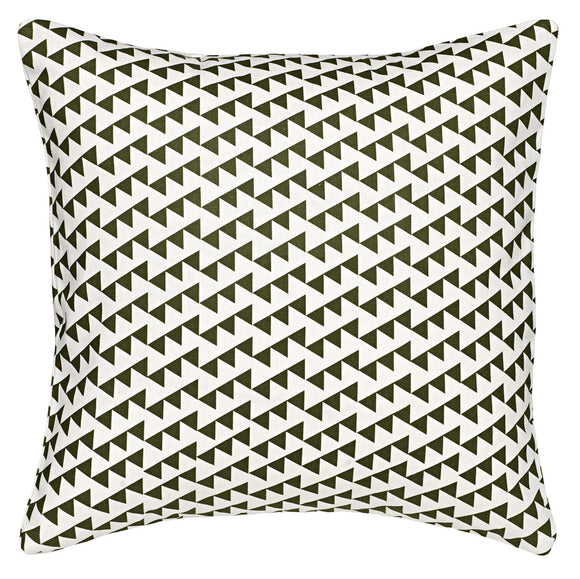 Bunting Geometric Pattern Linen Cotton Cushion in Olive Green