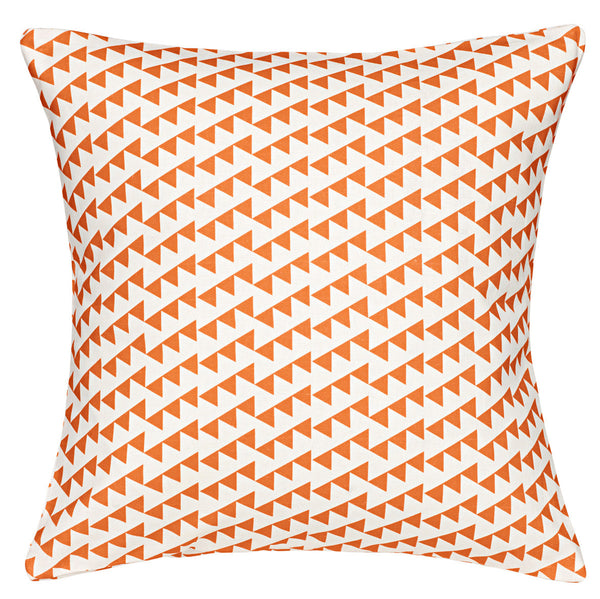 Bunting Geometric Pattern Linen Cotton Cushion in Bright Pumpkin Orange 45x45cm