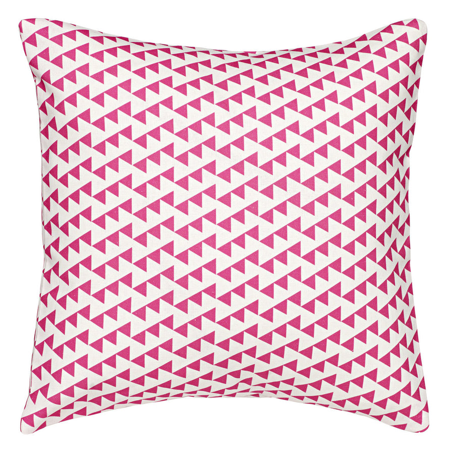 Bunting Geometric Pattern Cotton Linen Cushion in Bright Fuchsia Pink 45x45cm