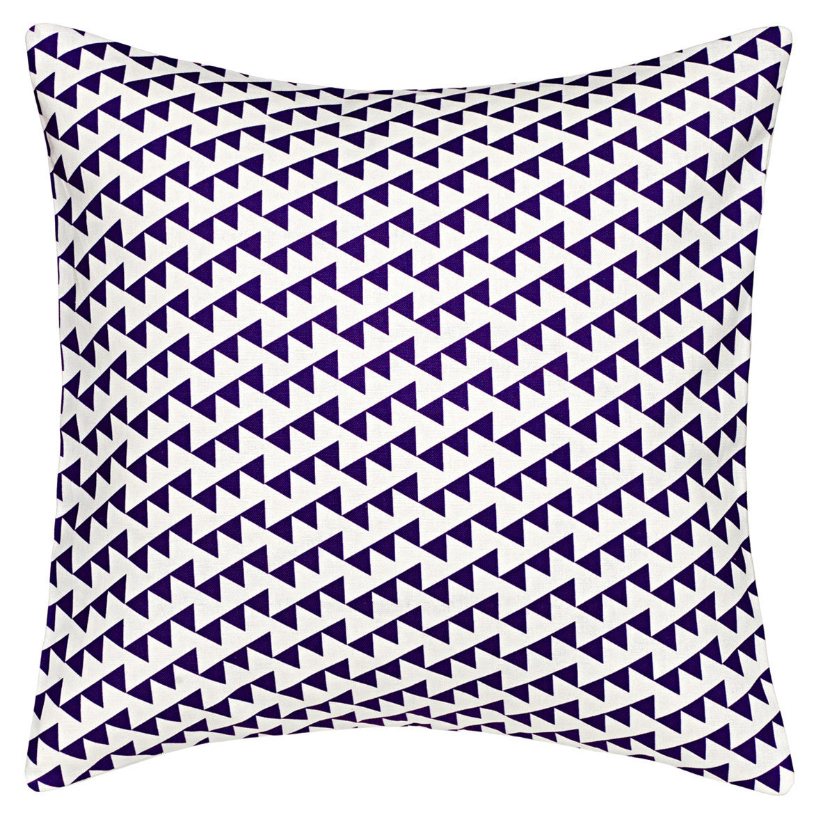 "Bunting Geometric Pattern Linen Cotton Cushion in Dark Aubergine Purple 45x45cm (18x18"") Throw Pillow Ships from Canada worldwide including the USA"