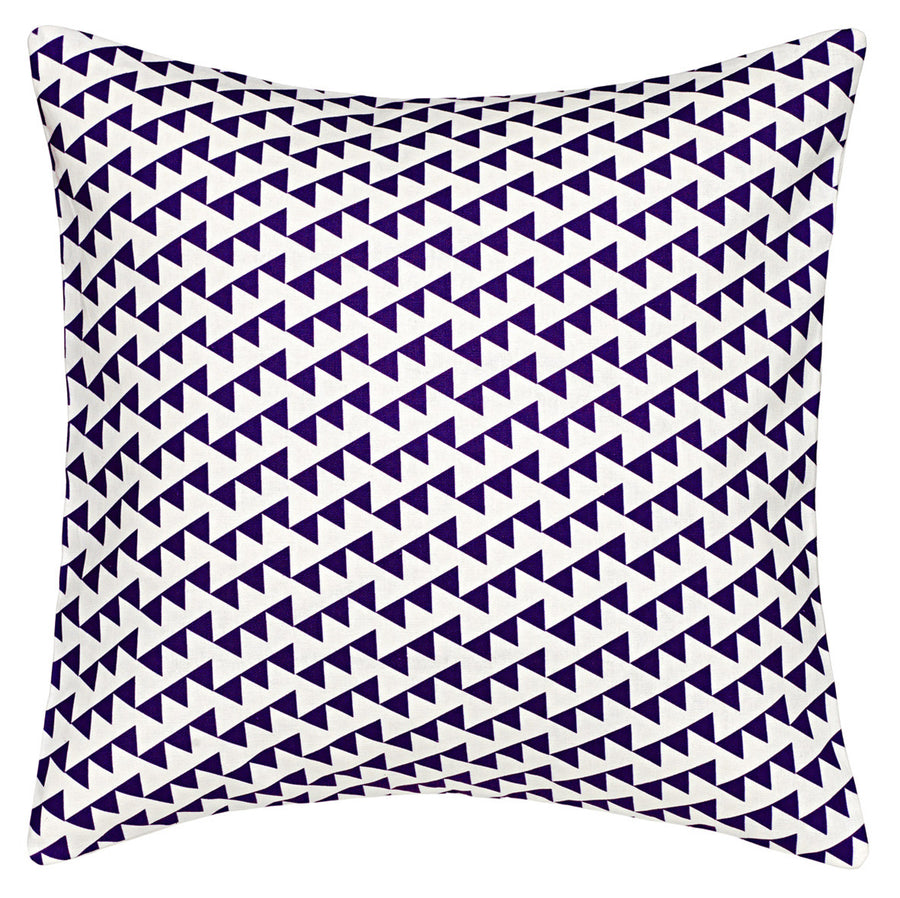 Bunting Geometric Pattern Linen Cotton Cushion in Dark Aubergine Purple 45x45cm