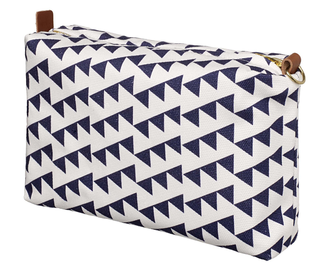 Bunting Geometric Pattern Canvas Wash toiletry Cosmetic Bag in Aubergine Purple Canada