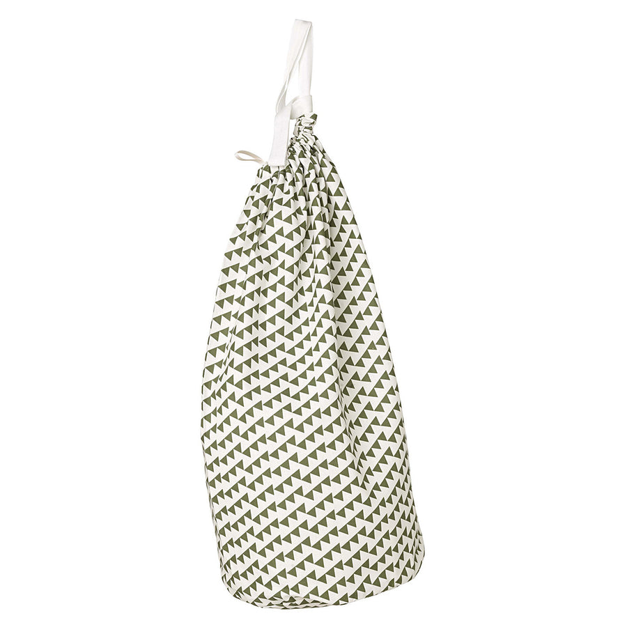 Bunting Geometric Pattern Linen Cotton Drawstring Laundry & Storage Bag in Olive Green Ships from Canada (USA)