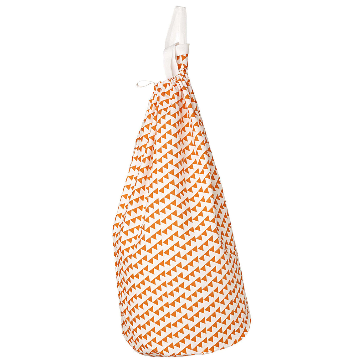 Bunting Geometric Pattern Cotton Linen Drawstring Laundry & Storage Bag in Bright Pumpkin Orange ships from Canada (USA)