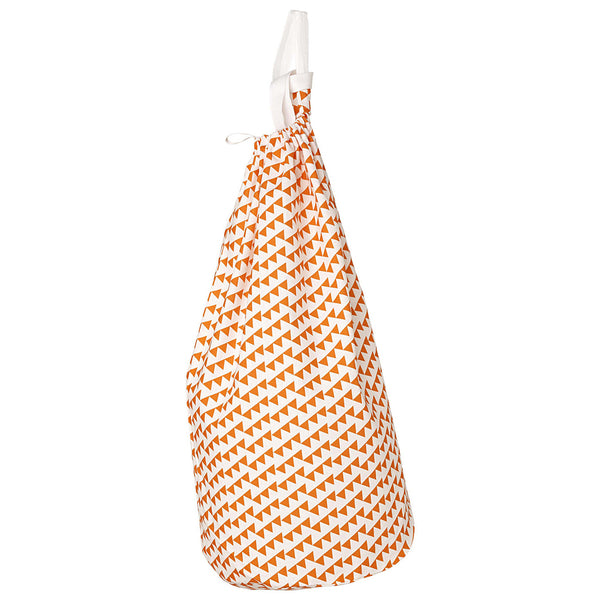 Bunting Geometric Pattern Linen Laundry Bag in Bright Pumpkin Orange