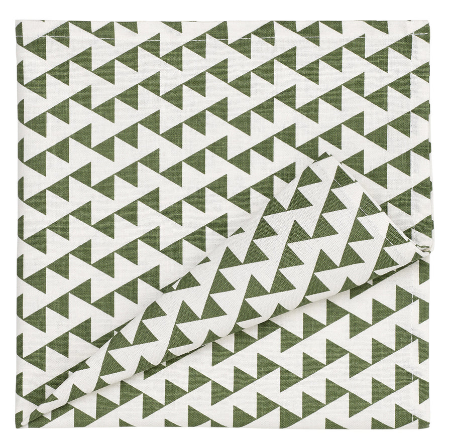 Bunting Geometric Pattern Linen Cotton Napkins in Olive Green