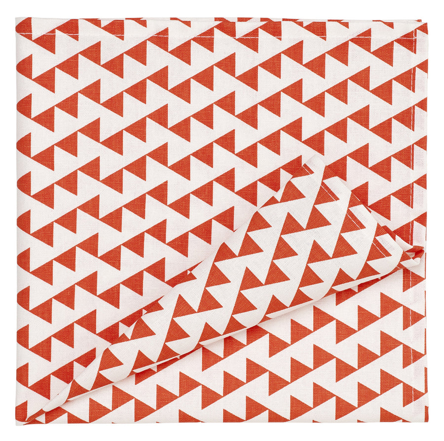 Bunting Geometric Pattern Linen Napkins in Bright Pumpkin Orange