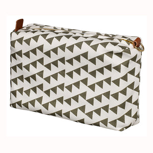Bunting Geometric Pattern Canvas Wash Toiletry Travel Bag - Olive Green Perfect for all your cosmetics and shaving kit. Canada