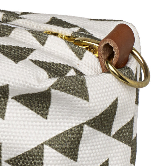 Bunting Geometric Pattern Canvas Wash (toiletry) Bag - Olive Green