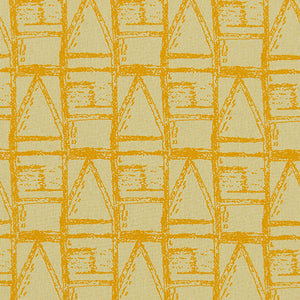 Buoy pattern designer fabric by meter or yard for curtains, blinds and upholstery in straw yellow and saffron ships from Canada worldwide including the USA