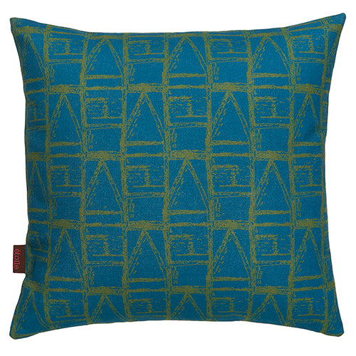 "Buoy pattern throw pillow in Petrol Blue & Olive Green 45x45cm (18x18"") Ships from canada worldwide including the USA"