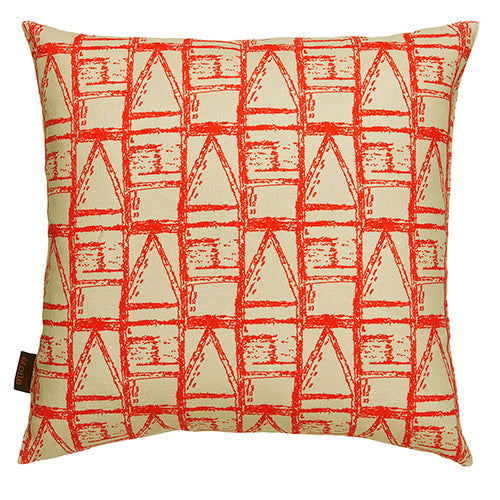 "Buoy Maritime pattern decorative throw pillow 45x45cm (18x18"") in natural beige and geranium red ships from canada worldwide including the USA"