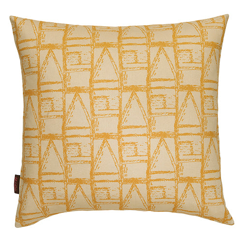 Buoy pattern decorative throw pillow in straw and saffron yellow ships from Canada worldwide including the USA
