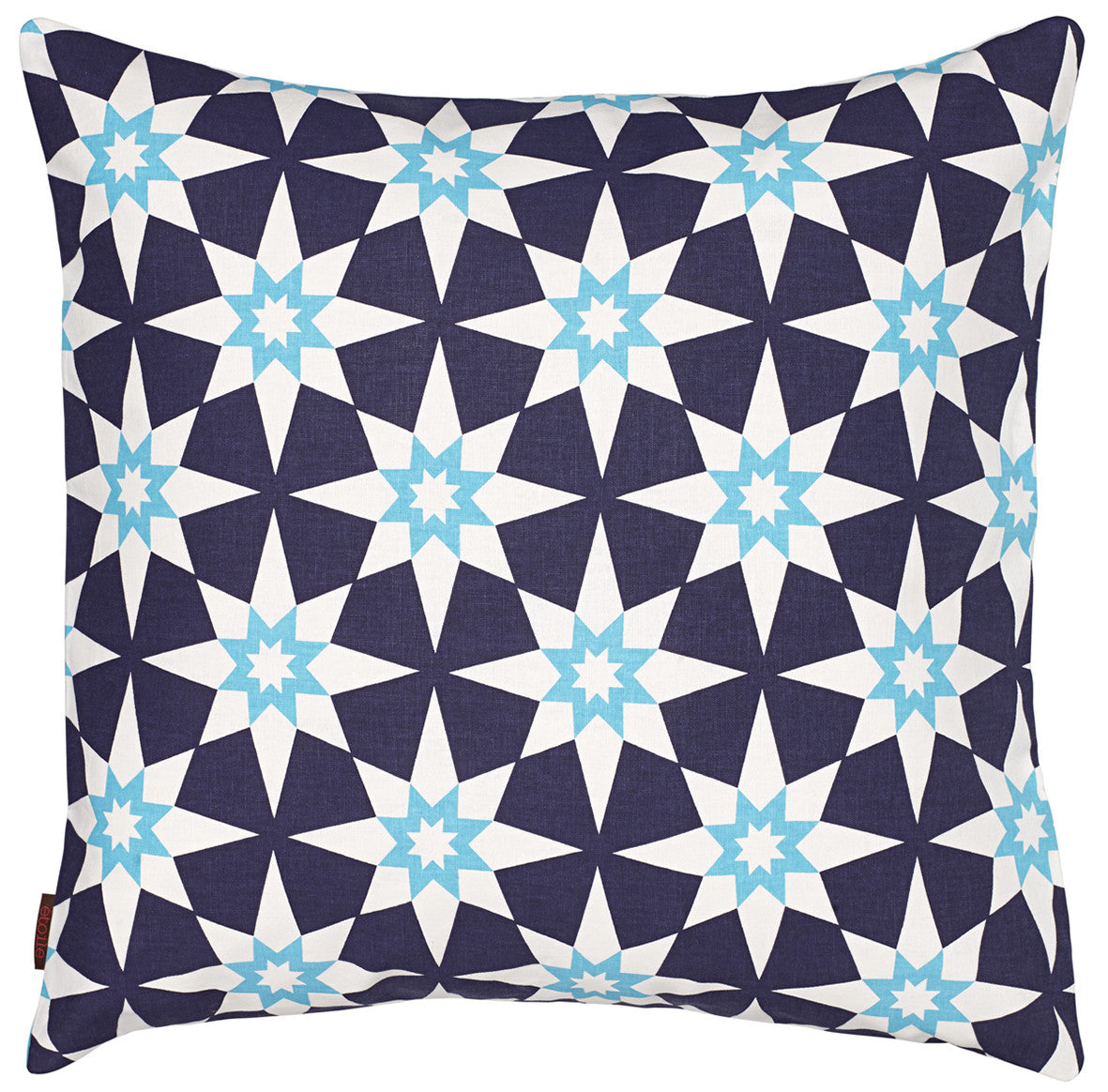"Cadiz Geometric Star Pattern Linen Throw Pillow in Aubergine Purple and Turquoise 55x55cm (22x22"") ships from Canada worldwide including the USA"