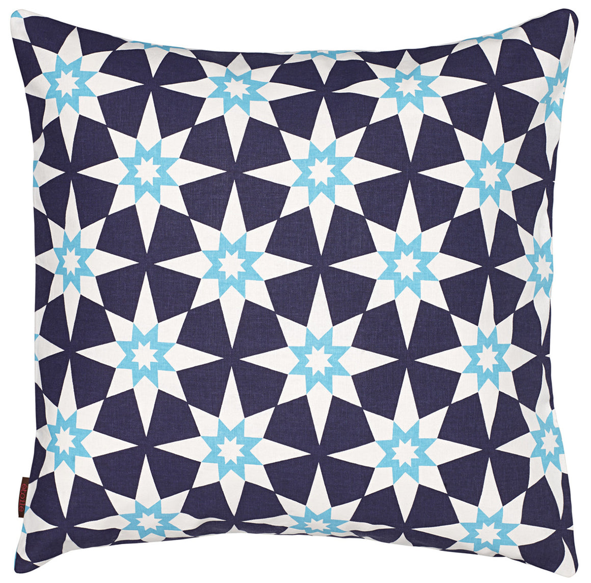 Cadiz Geometric Star Pattern Linen Cushion in Aubergine Purple and Turquoise 55x55cm