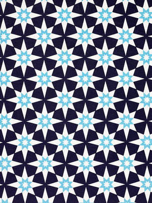 Cadiz Geometric Star Pattern Cotton Linen Fabric by the Meter in Aubergine Purple and Turquoise