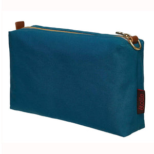 Resin Coated Cotton Canvas Wash, Toiletry, Cosmetic & Shaving Travel Bag - Petrol Blue Ships from canada (USA)