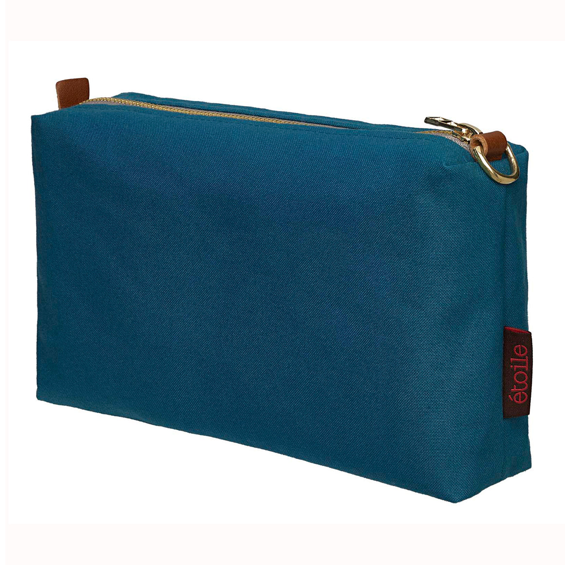 Resin Coated Cotton Canvas Wash, Toiletry, Cosmetic & Shaving Travel Bag - Petrol Blue Ships from canada