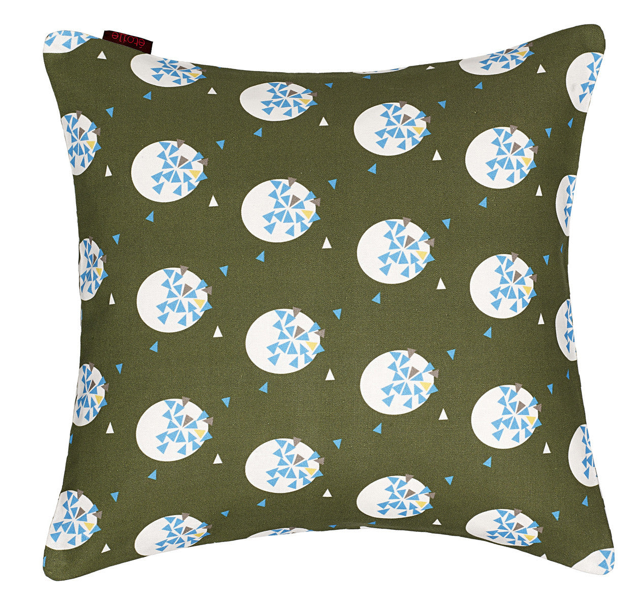 Ceramic Geometric Pattern Cotton Linen Cushion on Olive Green