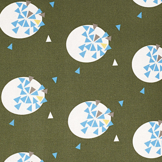 Ceramic Geometric Pattern Cotton Linen Fabric by the Meter in Olive Green