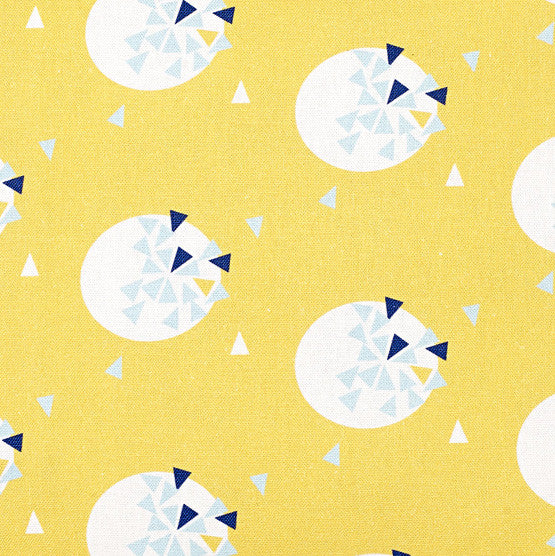 Ceramic Geometric Pattern Cotton Linen Fabric by the Meter in Maize Yellow