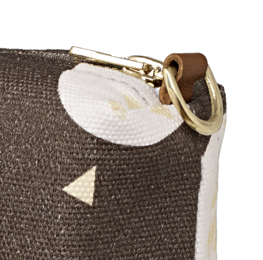 Ceramic Geometric Pattern Canvas Wash (toiletry) Bag in Stone Grey