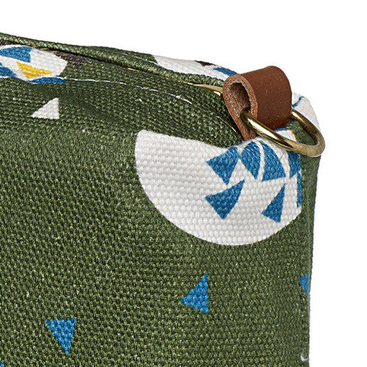 Ceramic Geometric Pattern Canvas Wash (toiletry) Bag in Olive Green