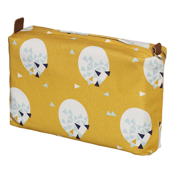 Ceramic Geometric Pattern Canvas Wash (toiletry) Bag in Maize Yellow